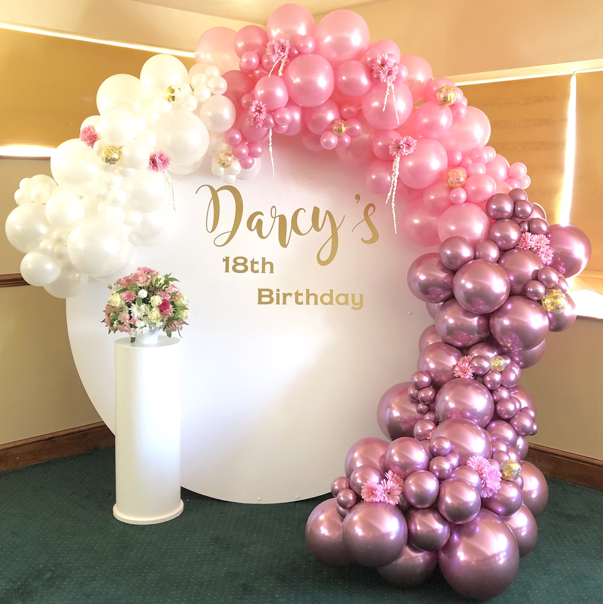 Balloon Garland With Personalised Backdrop The Party House